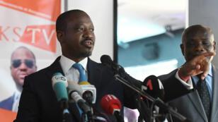 """Guillaume Soro lance son """"Comité Politique"""" devant la presse à Abidjan, le 15 février 2019."""