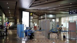 Un poste de contrôle à l'aéroport international de Pékin, en Chine, le 16 juin 2020.
