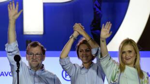 Le Premier ministre espagnol et leader du Parti populaire, Mariano Rajoy, dimanche 26 juin 2016 à Madrid, célèbre la victoire de son parti aux élections législatives.