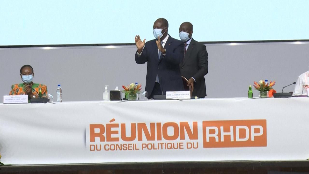 Le président Ouattara devant les militants du RHDP