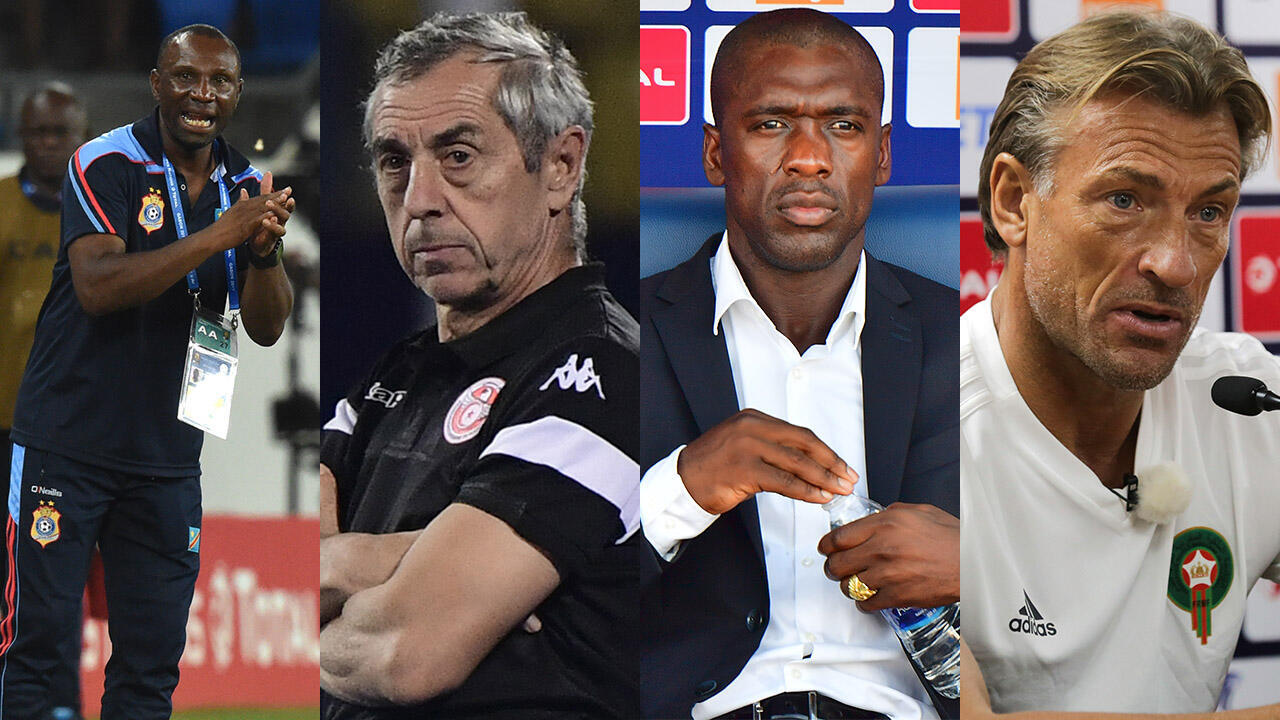 De gauche à droite : Florent Ibenge (RD Congo), Alain Giresse (Tunisie), Clarence Seedorf (Cameroun) et Hervé Renard (Maroc). Tous ont quitté la sélection pour laquelle ils officiaient durant la CAN-2019.
