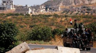 Des soldats syriens dans la ville de Morek, dans le district de Hama, le 24août2019.
