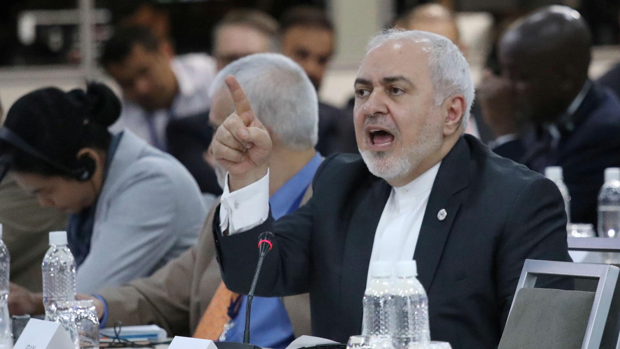 El Ministro de Relaciones Exteriores de Irán, Mohammad Javad Zarif a, habla durante la Reunión Ministerial del Buró de Coordinación del Movimiento de Países No Alineados (NAM) en Caracas, Venezuela, 21 de julio de 2019.