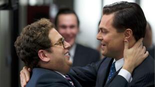 "Jonah Hill et Leonardo DiCaprio dans ""Le Loup de Wall Street"" en 2013."