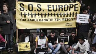 Manifestation d'immigrés et réfufgiés en Grèce le 22 avril 2015.