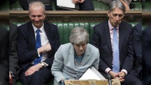 La primera ministra de Reino Unido, Theresa May, en una sesión del Parlamento británico, en Londres, Reino Unido, el 25 de marzo de 2019.
