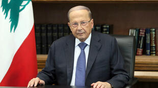 Lebanon's President Michel Aoun is pictured as he addresses the nation at the Baabda palace, Lebanon October 24, 2019.