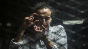 Le photographe Shawkan lors de son procès au Caire, le 9 août 2016.