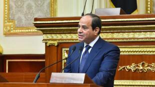 Abdel Fattah al-Sissi, samedi 2 juin, prononçant devant le Parlement le discours d'investiture de son second mandat.