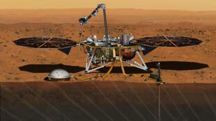 Ilustración de la sonda InSight de la NASA