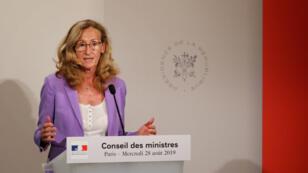 La ministre française de la Justice Nicole Belloubet, lors de la conférence de presse suivant le conseil des ministres, à Paris le 28 août 2019.