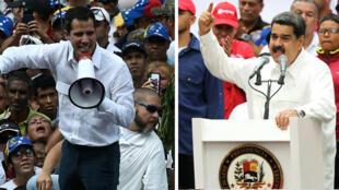 Montaje fotográfico que muestra al proclamado presidente interino de Venezuela, Juan Guaidó (I) y al presidente de Venezuela, Nicolás Maduro (D).