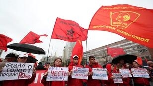 مظاهرة حاشدة نظمها الحزب الشيوعي الروسي للمطالبة بإجراء انتخابات نزيهة، موسكو، 17 آب/أغسطس 2019.