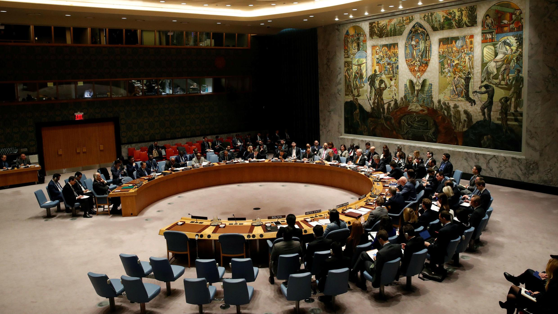 El Consejo de Seguridad de las Naciones Unidas reunido en la sede de la ONU en Nueva York, EE. UU., para tratar la situación en Siria, el 12 de marzo de 2018.