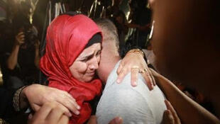 Un prisonnier palestinien, libéré le 14 août 2013, de retour à Ramallah.
