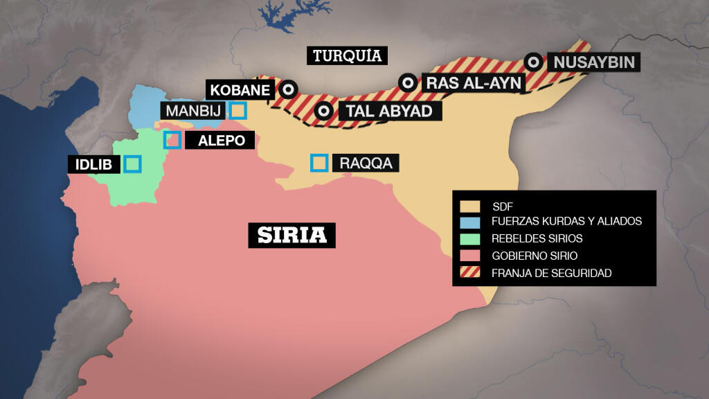 Mapa de la nueva situación del norte de Siria en la frontera con Turquía tras el acuerdo alcanzado entre Ankara y Moscú.