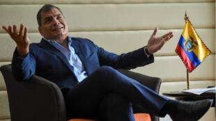 El expresidente ecuatoriano, Rafael Correa, durante una entrevista en Bogotá, Colombia, el 22 de septiembre de 2017.