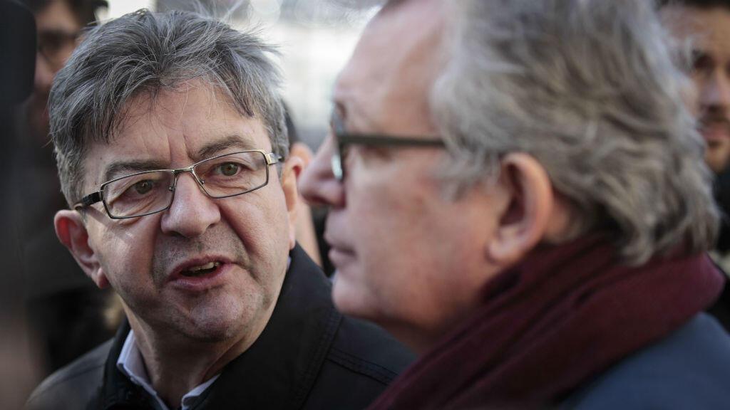 Jean-Luc Mélenchon et Pierre Laurent, à Paris, le 24 février 2017.
