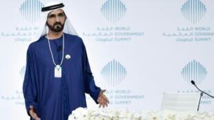 الشيخ محمد بن راشد خلال فعالية في دبي في 12 شباط/فبراير 2017