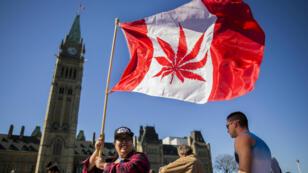 Una manifestación a favor de la legalización del cannabis en Ottawa, el 20 de abril de 2018.