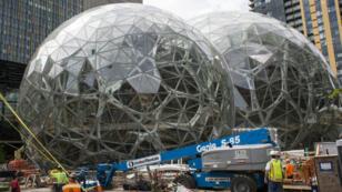 Des constructions pour agrandir le QG d'Amazon à Seattle étaient toujours en cours en janvier 2018.