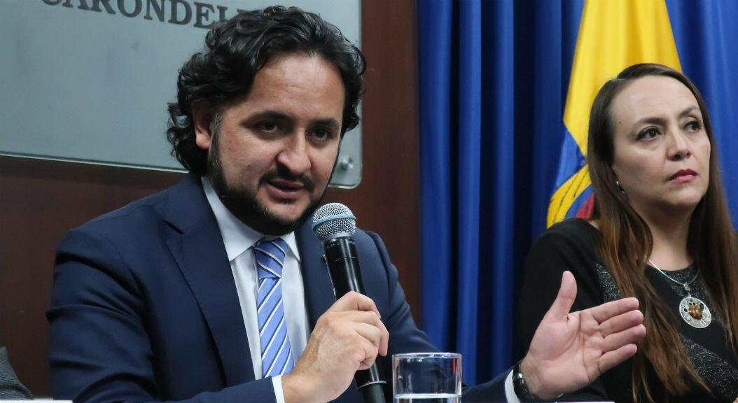 El ministro de Telecomunicaciones de Ecuador, Andrés Michelena, en rueda de prensa, el 16 de septiembre de 2019.
