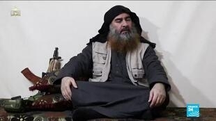 In this undated and unlocated tv grab taken from a video released by Al-Furqan media, the chief of the Islamic State group Abu Bakr al-Baghdadi appears for the first time in five years in a propaganda video.
