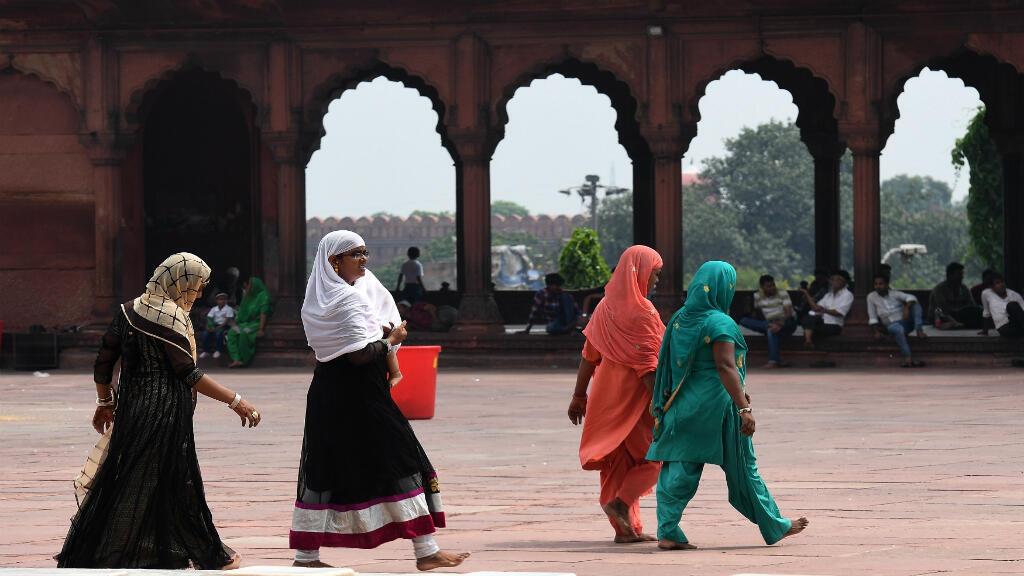 Mujeres musulmanes en una mezquita en Nueva Delhi, 22 de agosto de 2017
