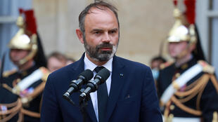 Former French Prime Minister Édouard Philippe gives a speech during the handover ceremony at the Matignon Hotel in Paris on July 3, 2020.