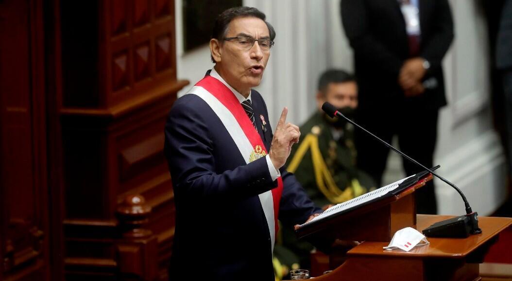 El presidente, Martín Vizcarra, durante el discurso de Fiestas Patrias, en el Congreso, en Lima, Perú, el 28 de julio de 2020.
