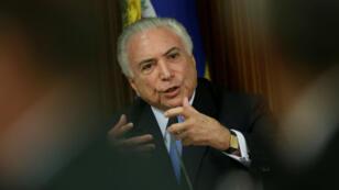 El presidente brasileño, Michel Temer, durante el Consejo de Seguridad Pública que se llevó a cabo en Brasilia el 1 de marzo de 2018.