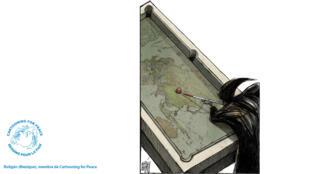 Dans ce dessin, le caricaturiste Boligán revient sur l'épidémie de coronavirus, désormais appelé Covid-19.