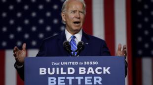 El candidato demócrata Joe Biden durante un evento en Wilmington, Delaware, el 14 de julio de 2020
