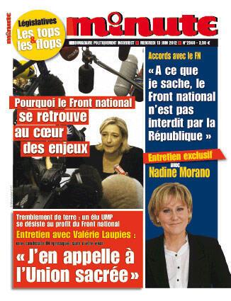 """Nadine Morano en une de """"Minute"""""""