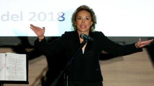 Elba Esther Gordillo, ex líder del sindicato de maestros de México , habla públicamente en Ciudad de México.