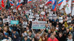 Según la Policía, 20.000 personas protestaron en la capital rusa pero organizaciones independientes cifran la participación en al menos 40.000 personas. 10 de agosto de 2019.