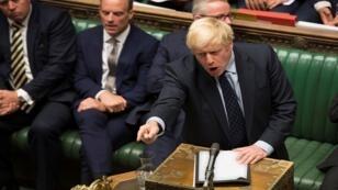 رئيس الوزراء البريطاني بوريس جونسون ينفعل أمام مجلس العموم في لندن، بريطانيا، 3 سبتمبر/ أيلول 2019.