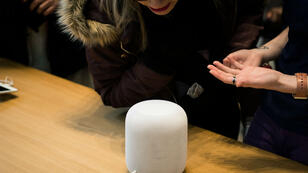 Le HomePod, l'enceinte intelligente d'Apple.