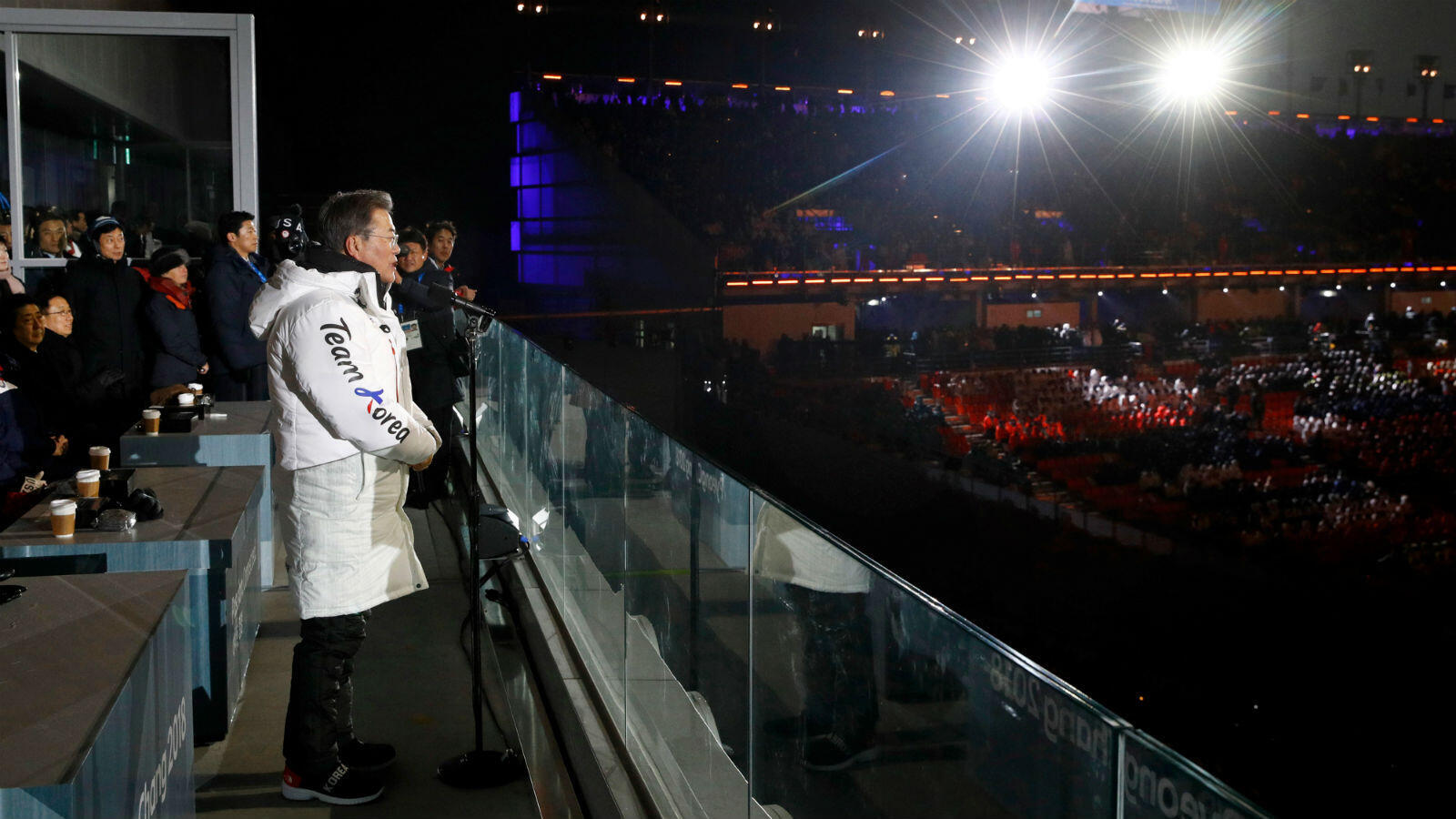 South Korean President Moon Jae-in presided over the official opening of the 23rd Olympic Winter Games in freezing winds.