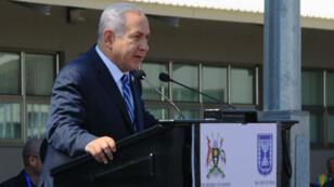 Benjamin Netanyahou, lors de son discours de commémoration du 40e anniversaire du raid israélien à Enttebe, lundi 4 juillet 2016.