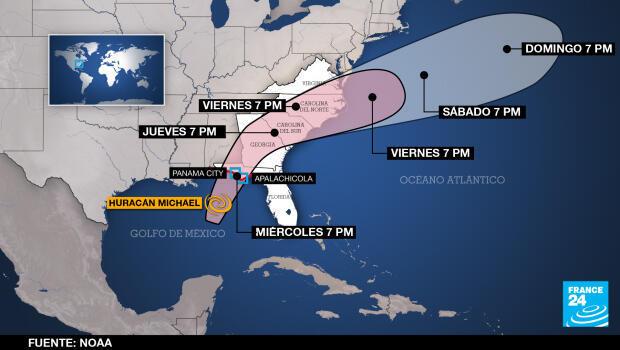Previsión del recorrido del huracán Michael