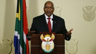Jacob Zuma lors de son adresse à la nation, mercredi 14 février à Pretoria.