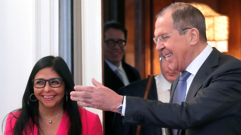 La vicepresidenta de Venezuela, Delcy Rodríguez, durante su reunión con el canciller ruso, Sergéi Lavrov.