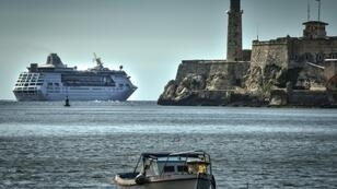"""The """"Empress of the Seas"""", a Bahamas-flagged vessel owned by the US Royal Caribbean, sailing out of Havana's harbor as US travel restrictions go into effect"""