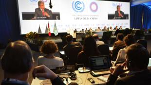 Manuel Pulgar, le ministre de l'Environnement du Pérou, lors des débats sur le climat, le 12 décembre 2014.