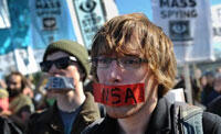 Protesters march on Washington against NSA spying claims