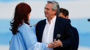 Argentina's presidential candidate Alberto Fernandez and his running mate former President Cristina Fernandez embrace each other during a closing campaign rally in Mar del Plata, Argentina October 24, 2019.