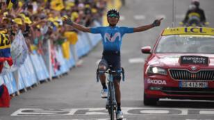 Le Colombien Nairo Quintana a remporté la 18e étape du Tour de France à Valloire, le 25 juillet 2019.