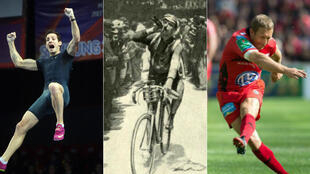 Montage of photos featuring pole vaulter Renaud Lavillenie (left, ©AFP), the 1914 Tour de France (©G Salmon Collection), and rugbyman Jonny Wilkinson (right, ©AFP)