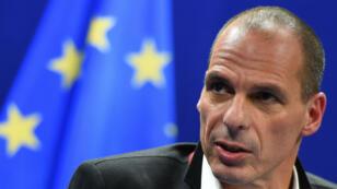 Conférence de presse de Yanis Varoufakis, ministre grec des Finances, le 20 février 2015 à Bruxelles.